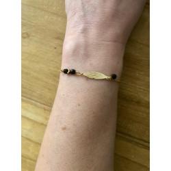 Bracelet plume  bohème noir