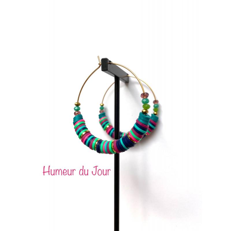 Créoles Heishi multicolores